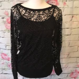 Cynthia Rowley lace long sleeve top with cami